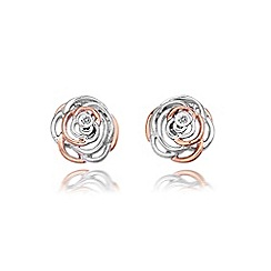Hot Diamonds - Sterling Silver and Rose gold plated accents 'Eternal Rose' earrings