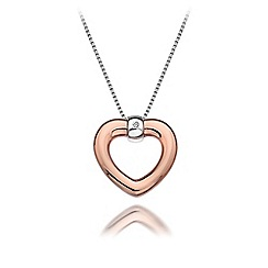 Hot Diamonds - Sterling silver and 18ct rose gold plated 'Bonded Heart' pendant