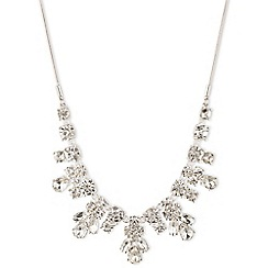 Nine West - Silver dramatic clear crytsal floral necklace