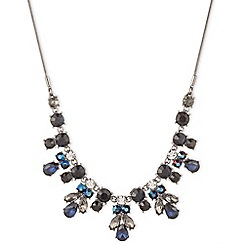 Nine West - Silver dramatic blue and black crytsal floral necklace