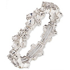 Nine West - Silver dramatic clear crystal floral bracelet
