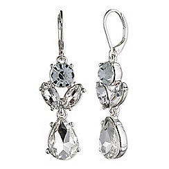 Nine West - Silver dramatic clear crystal floral drop earrings