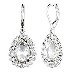 Nine West - Silver fringe clear crystal tear drop earrings