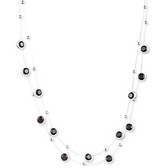Nine West - Silver with clear and jet crystal circle multi row necklace