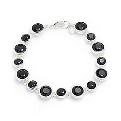 Nine West - Silver with clear and jet crystal circle drop bracelet