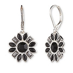 Nine West - Silver floral dramatic clear and jet crystal drop earrings