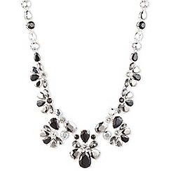 Nine West - Silver floral large dramatic clear and jet crystal necklace
