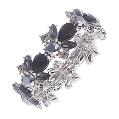 Nine West - Silver floral dramatic clear and jet crystal bracelet