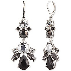 Nine West - Silver floral dramatic clear and jet crystal chandelier drop earrings