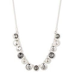 Nine West - Silver with clear crystal circle drop necklace