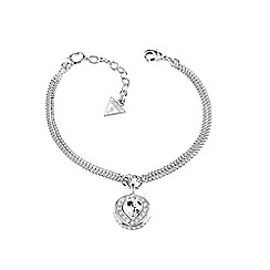Guess - Rhodium Plated bracelet with heart pendant