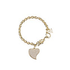 Guess - Gold pave heart charm bracelet
