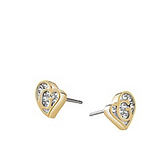 Guess - Yellow Gold plated stud earrings with Swarovski crystals ube71524