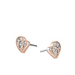 Guess - Rose Gold plated heart stud earrings