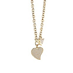 Guess - Gold plated necklace with pave heart