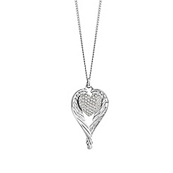 Guess - Rhodium plated wing heart necklace