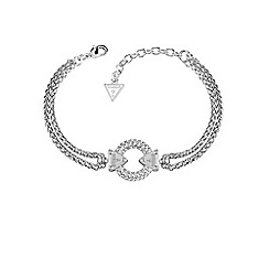 Guess - Rhodium plated bracelet with circle lock