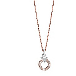 Guess - Rhodium and rose gold plated chain necklace with a circle lock ubn71511