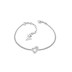 Guess - Rhodium heart plated bracelet