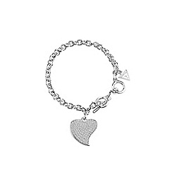 Guess - Rhodium plated pave heart charm bracelet