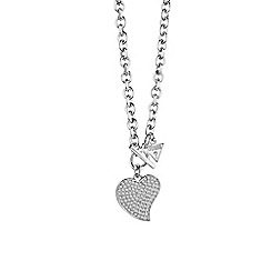 Guess - Rhodium plated small pave heart necklace