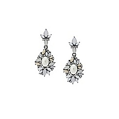 Lipsy - Silver ornate flower drop earrings