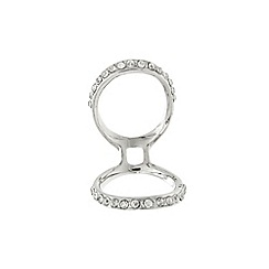 Lipsy - Silver pave double ring