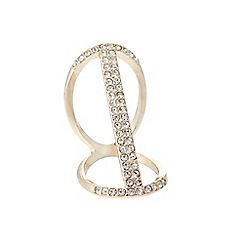 Lipsy - Gold coloured pave bar double ring