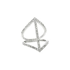 Lipsy - Silver fine pave link ring