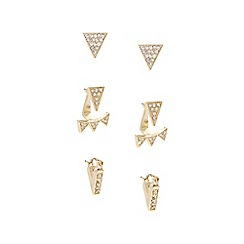 Lipsy - Gold crystal angular trio earring set