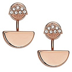 Fossil - Ladies rose gold half stone drop earrings