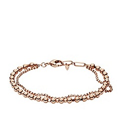Fossil - Ladies rose gold multi-beaded bracelet