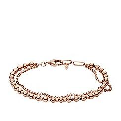 Fossil - Ladies rose gold multi-beaded bracelet
