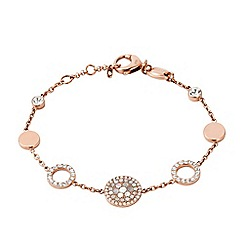 Fossil - Ladies rose gold pearl disk station bracelet