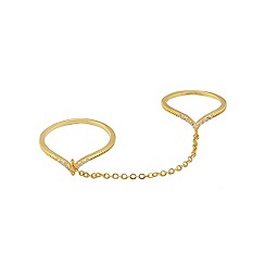 Lipsy - Gold sleek pave chain link ring