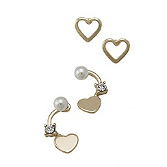 Lipsy - Gold heart and pearl duo studs