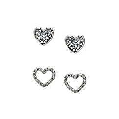 Lipsy - Silver pave heart duo studs