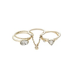 Lipsy - Gold pretty multi stone stacker ring set
