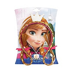 Disney Frozen - Multicoloured Anna fake hair, locket & ring set
