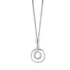 Guess - Rhodium plated logo disc pendant necklace ubn61010