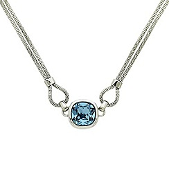 Finesse - Rhodium plated mesh sapphire necklace