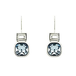 Finesse - Rhodium plated sapphire cushion hook earrings