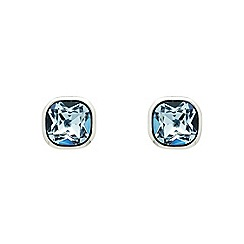Finesse - Rhodium plated sapphire cushion stud earrings