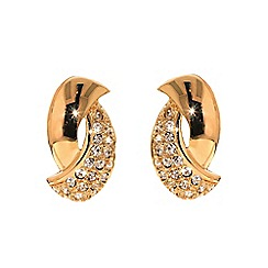 Finesse - Rose gold plated Swarovski curve clip earrings