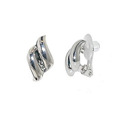 Finesse - Rhodium plated diamond clip earrings