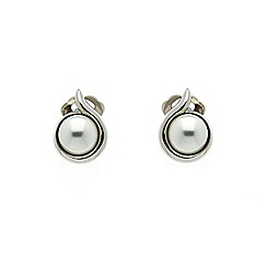 Finesse - Rhodium white pearl in a curl clip earrings