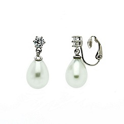 Finesse - Rhodium white pearl CZ drop clip earrings