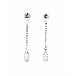 Finesse - Rhodium Swarovski briolette drop clip earrings