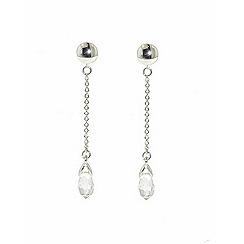 Finesse - Rhodium Swarovski briolette drop clip earrings