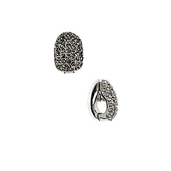 Anne Klein - Silver and crystal hoop earrings